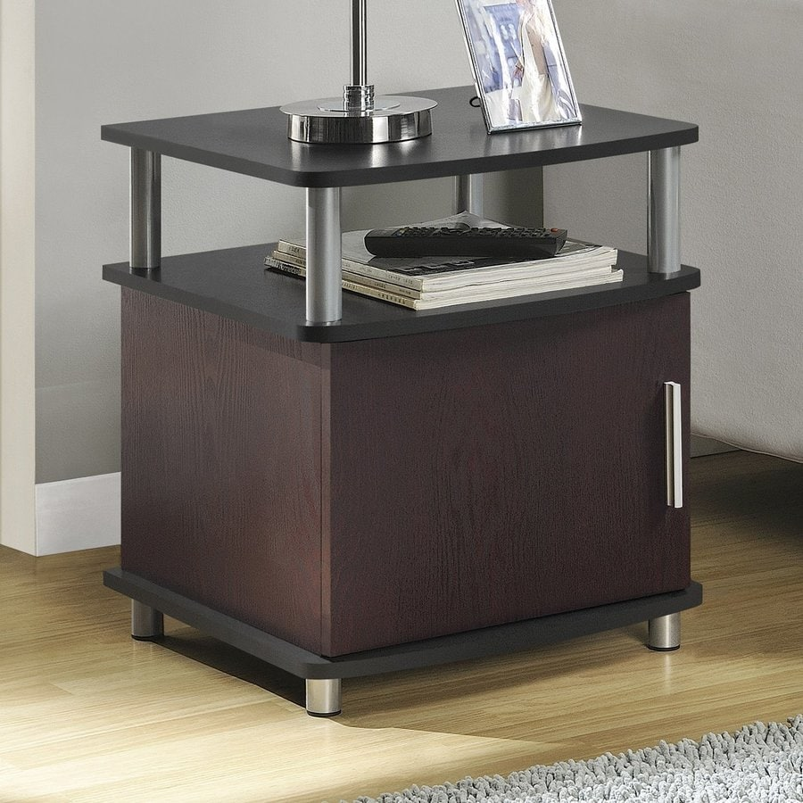 Ameriwood Home Carson Dark Cherry/Black Composite Modern End Table