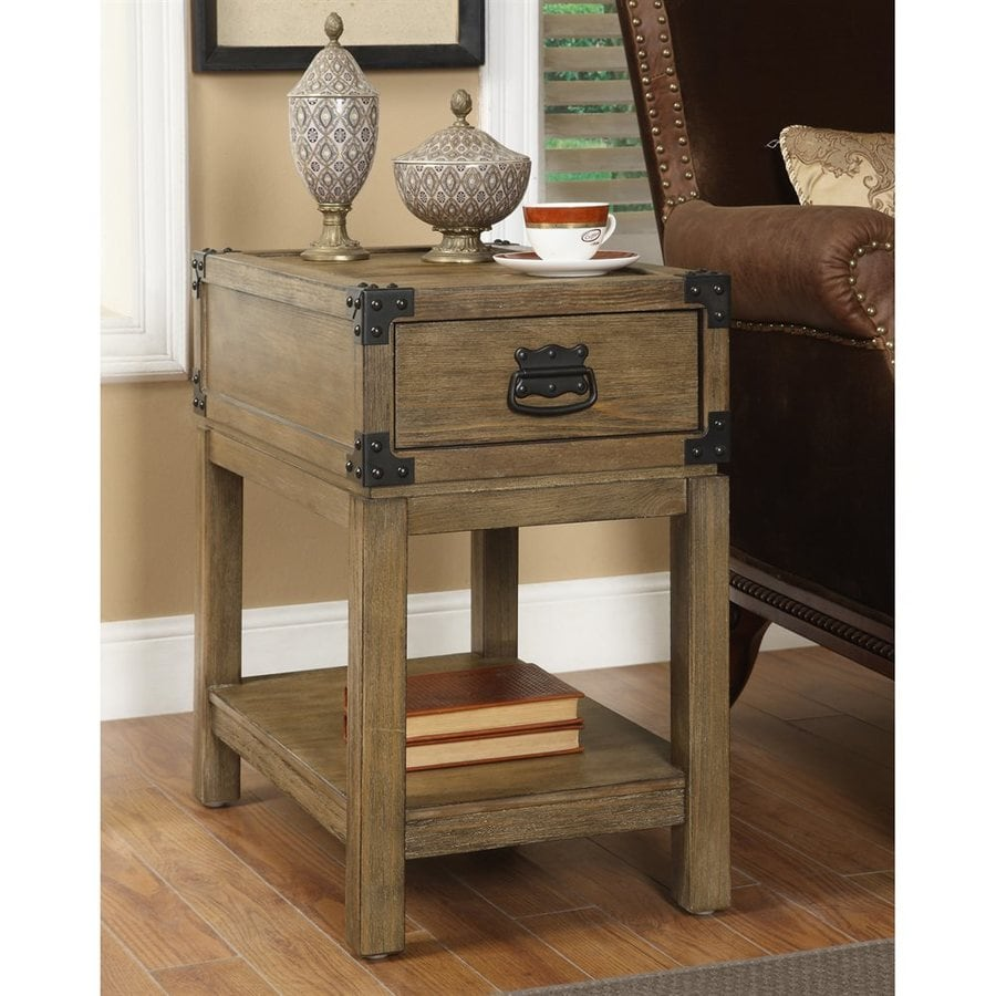 Coast to Coast Caramel Burnished Natural Pine End Table