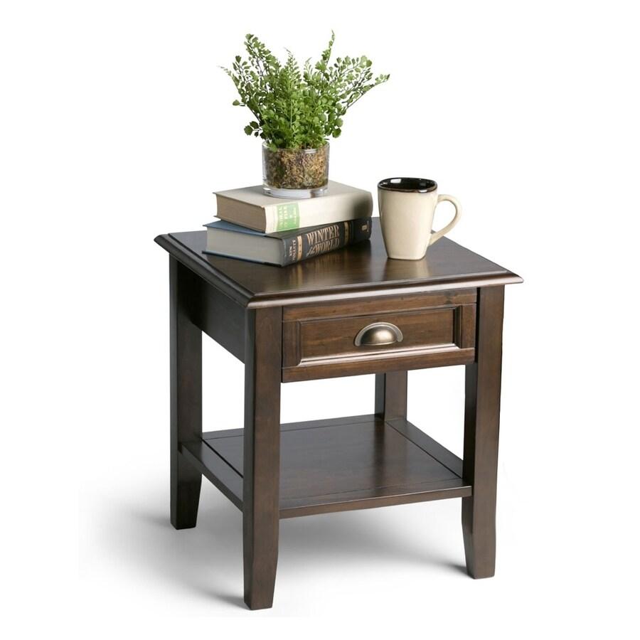 Simpli Home Burlington Espresso Brown Pine End Table