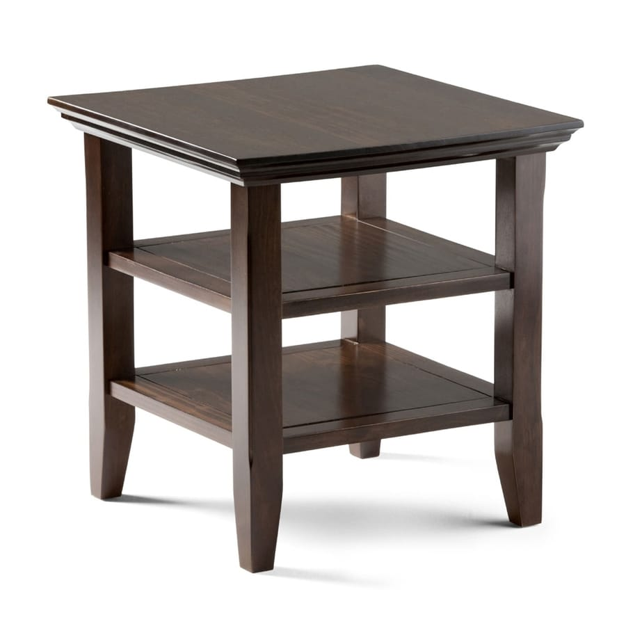 Simpli Home Acadian Tobacco Brown Pine End Table
