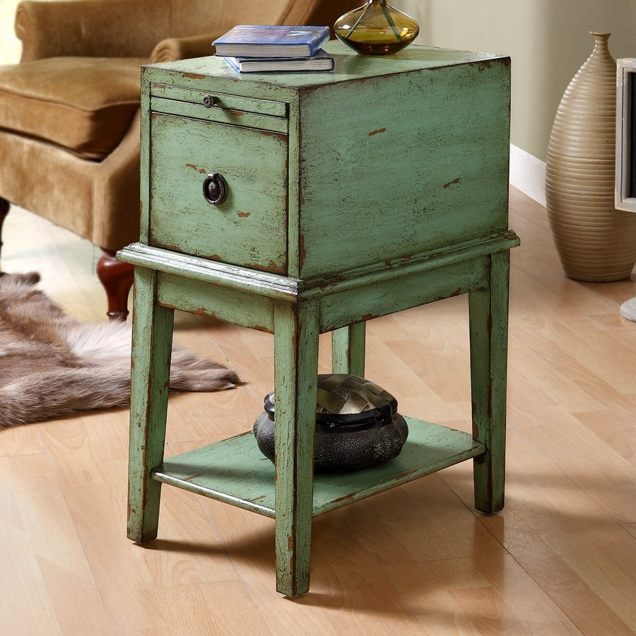 shop coast to coast bayford weathered green end table at lowescom - coast to coast bayford weathered green end table