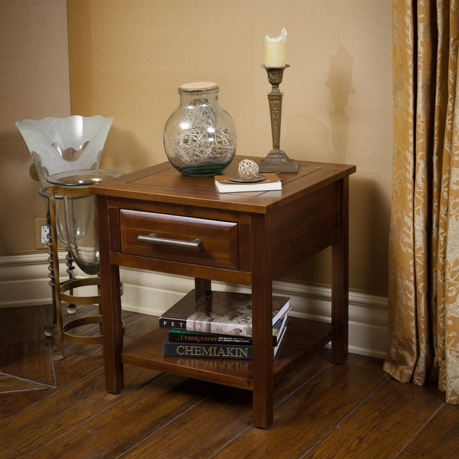 Best Selling Home Decor Luna Brown Mahogany Acacia Square End Table