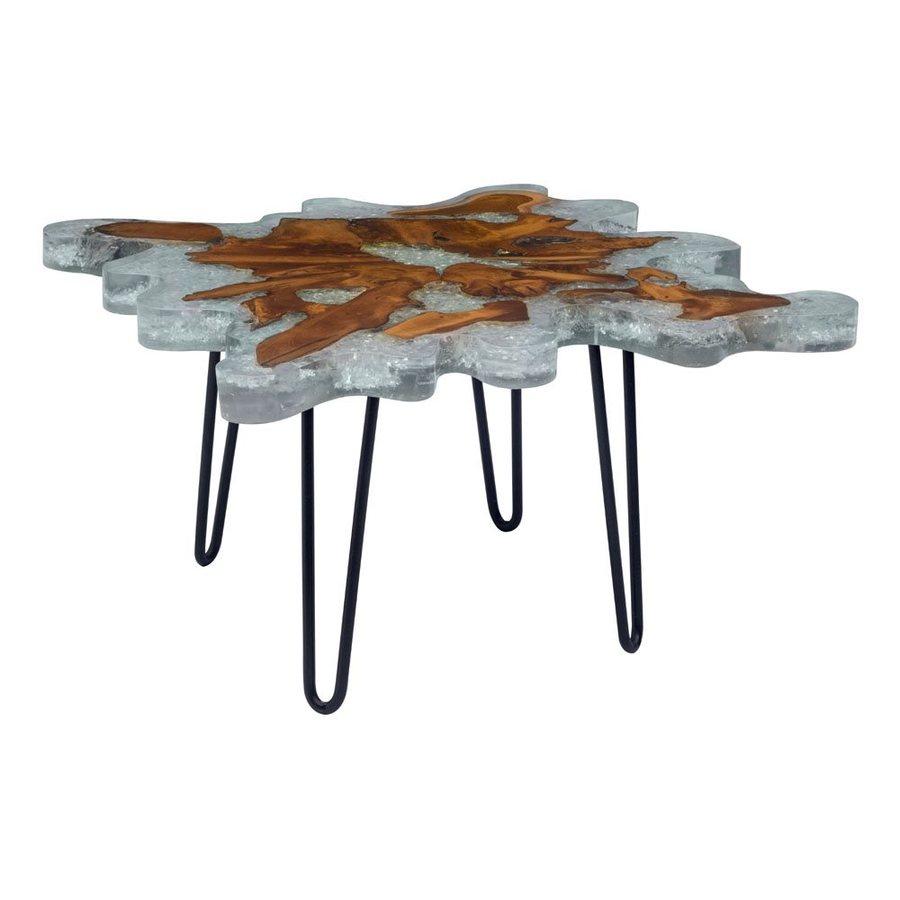 Zuo Modern Jigsaw Teak/Resin/Glass End Table