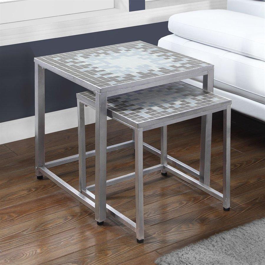 Monarch Specialties Tile Top 2-Piece Gray/Blue Accent Table Set & Shop Monarch Specialties Tile Top 2-Piece Gray/Blue Accent Table Set ...