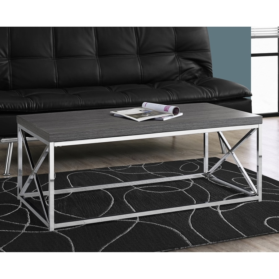 Monarch Specialties Gray Rubberwood Wood Rectangular Coffee Table