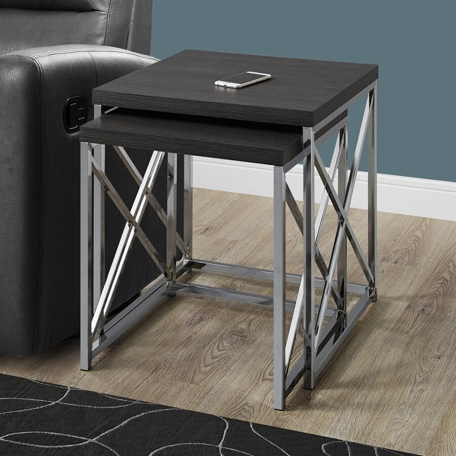 Monarch Specialties 2-Piece Dark Gray Accent Table Set