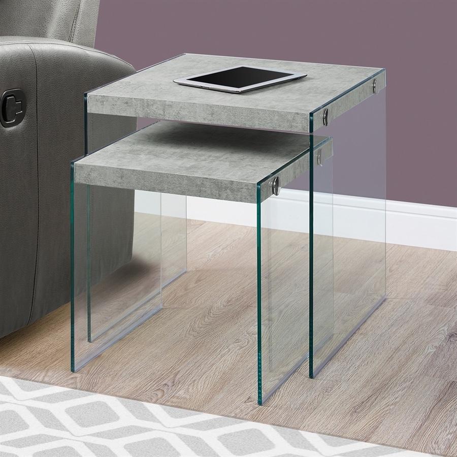 Monarch Specialties 2-Piece Gray Accent Table Set