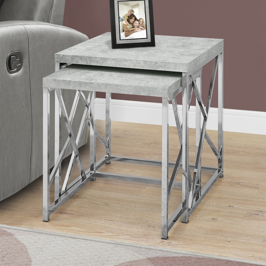 Monarch Specialties 2-Piece Gray Accent Table Set