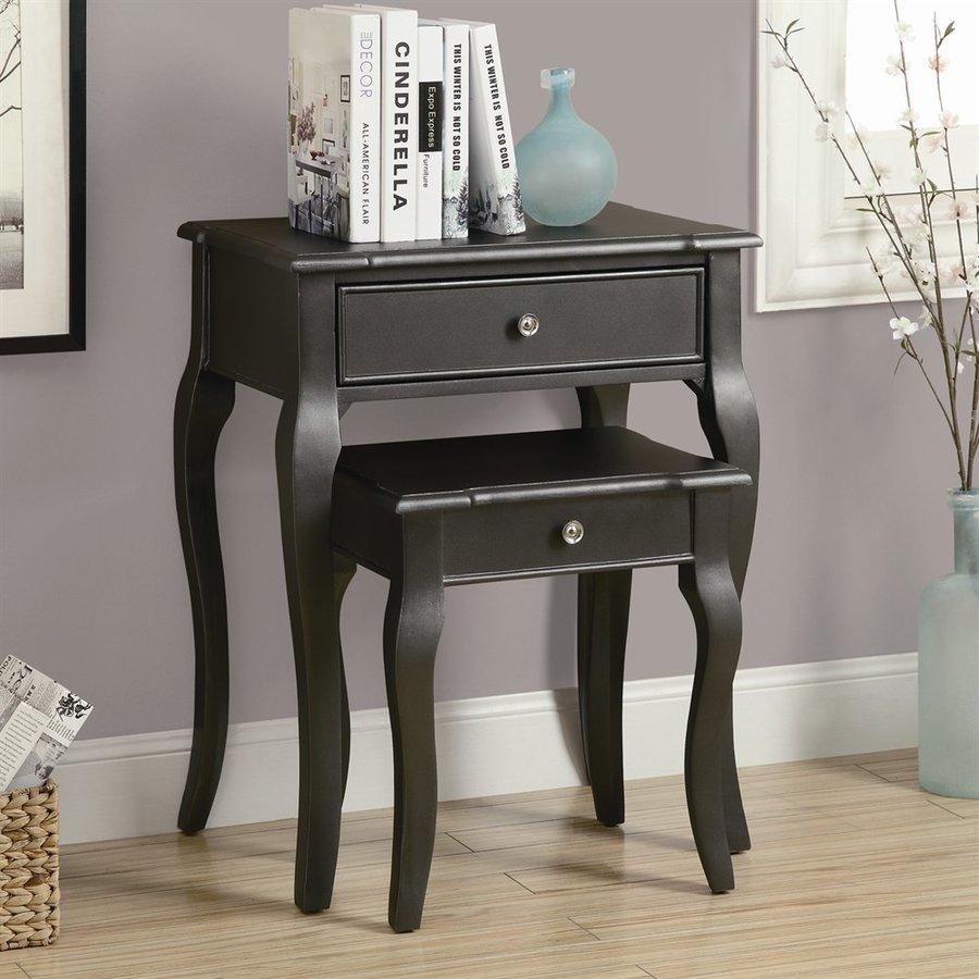 Monarch Specialties 2-Piece Antique Black Accent Table Set