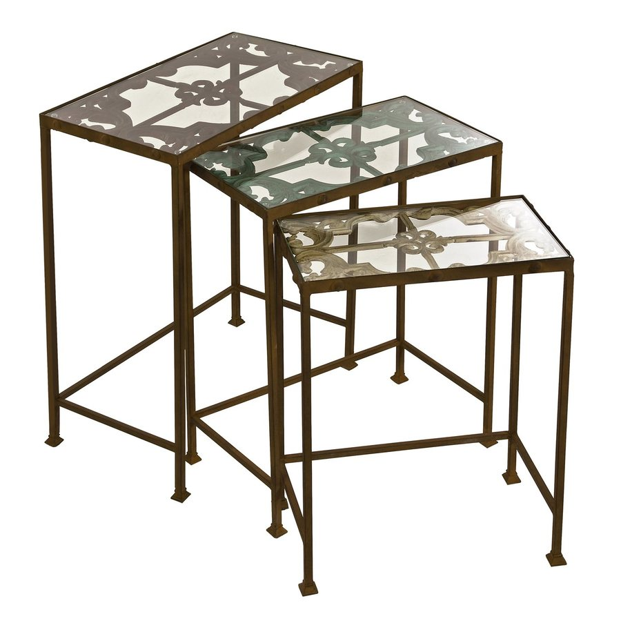 Imax Worldwide Torry 3 Piece Clear Accent Table Set
