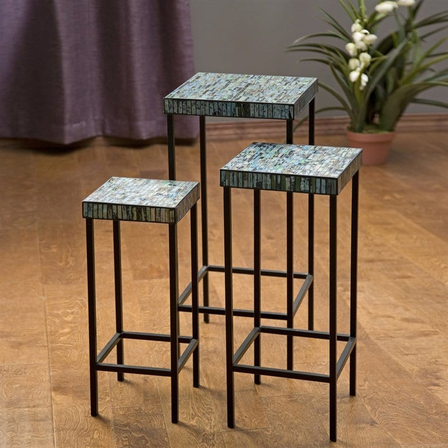 Imax Worldwide Aramis 3 Piece Blue/Green Mosaic Accent Table Set