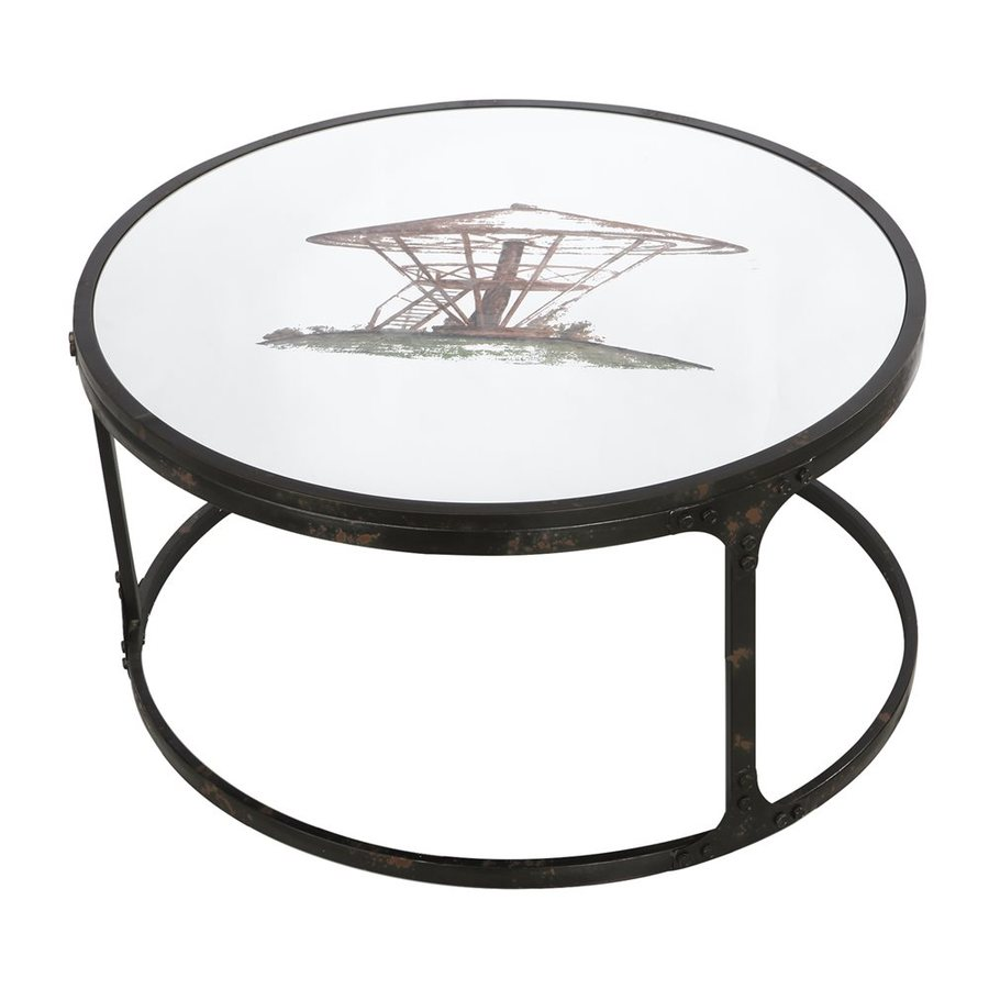 A&B Home Glass Round Coffee Table