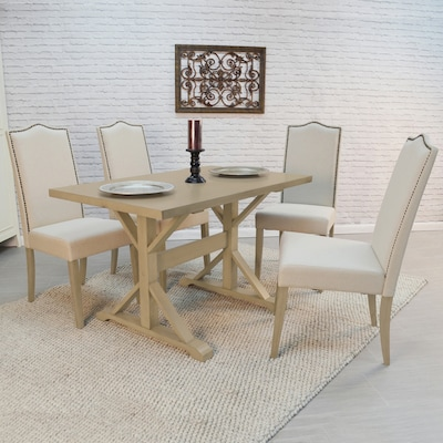 CAROLINA COTTAGE Florence Weathered Gray Dining Table at ...