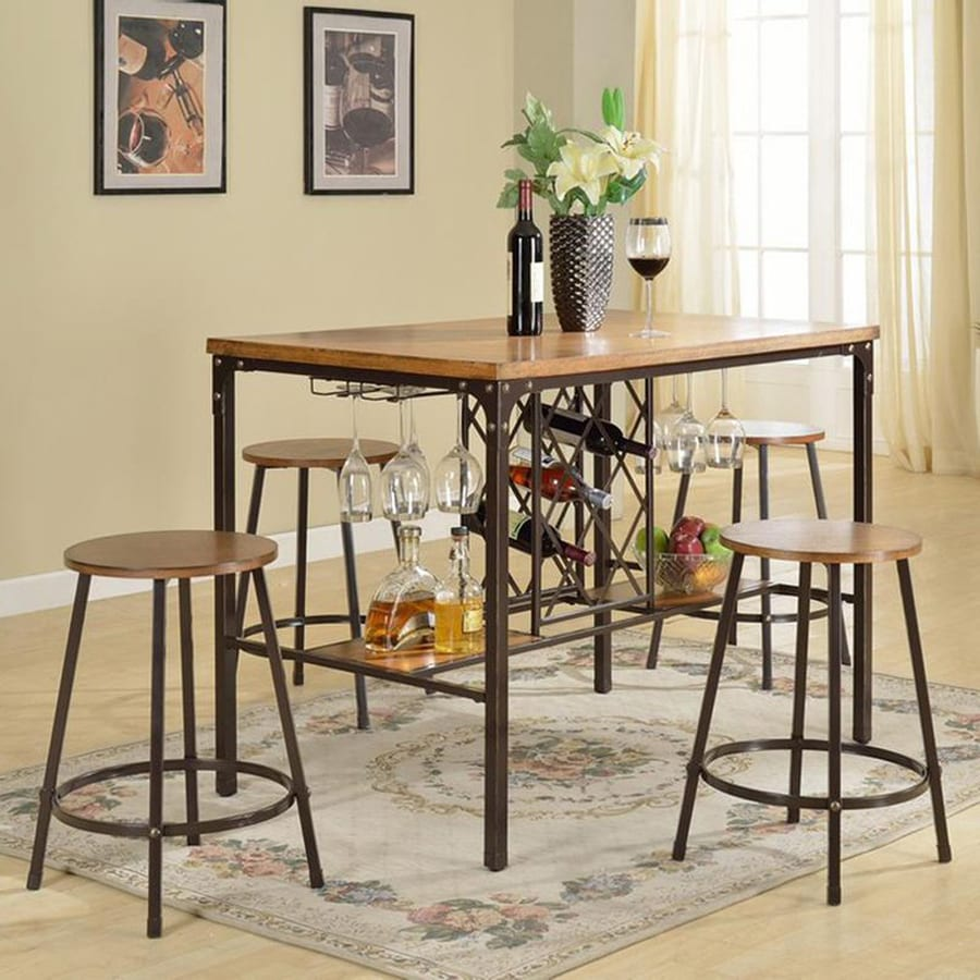 Baxton Studio Vintner Rustic Wood/Black Dining Set with Rectangular Counter Table