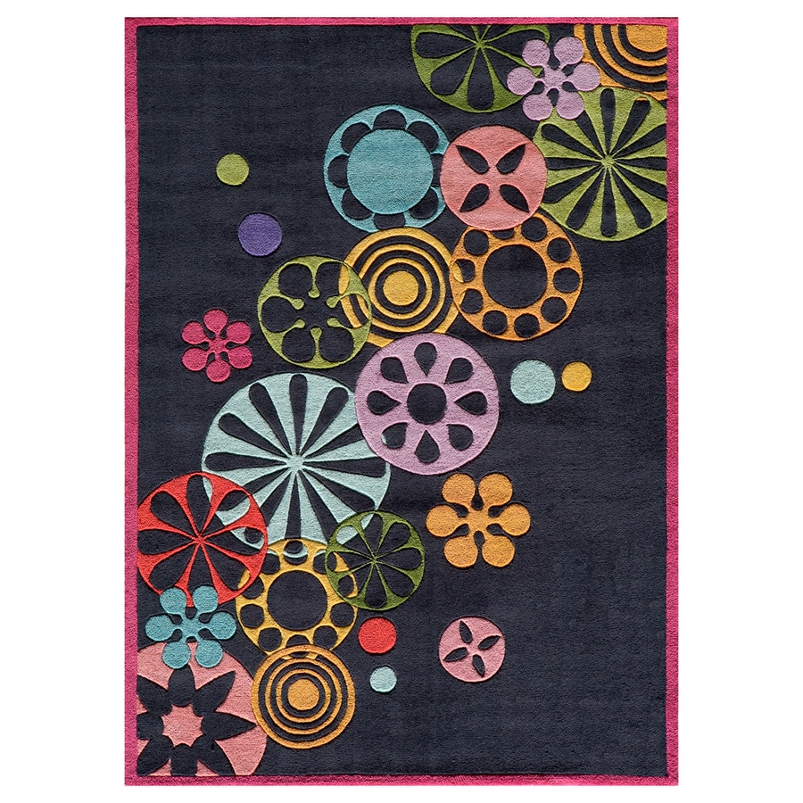 Momeni Lil Mo Hipster Black Rectangular Indoor Handcrafted Novelty Area Rug (Common: 5 X 7; Actual: 5-ft W x 7-ft L)