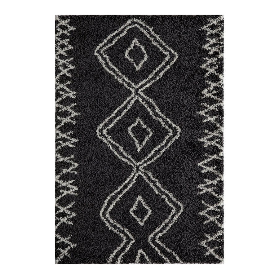 Momeni Maya Black Rectangular Indoor Machine-made Moroccan Area Rug (Common: 4 X 6; Actual: 3.91-ft W x 5.583-ft L)