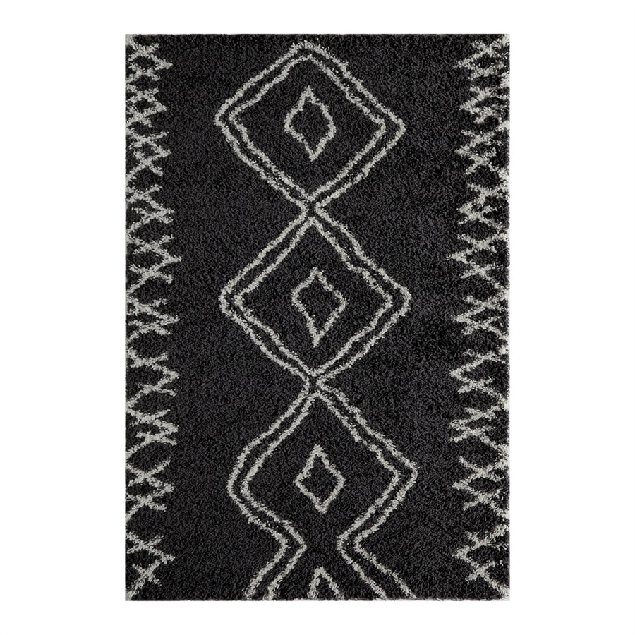 Momeni Maya Black Rectangular Indoor Machine-made Moroccan Area Rug (Common: 5 X 8; Actual: 5.25-ft W x 7.5-ft L)