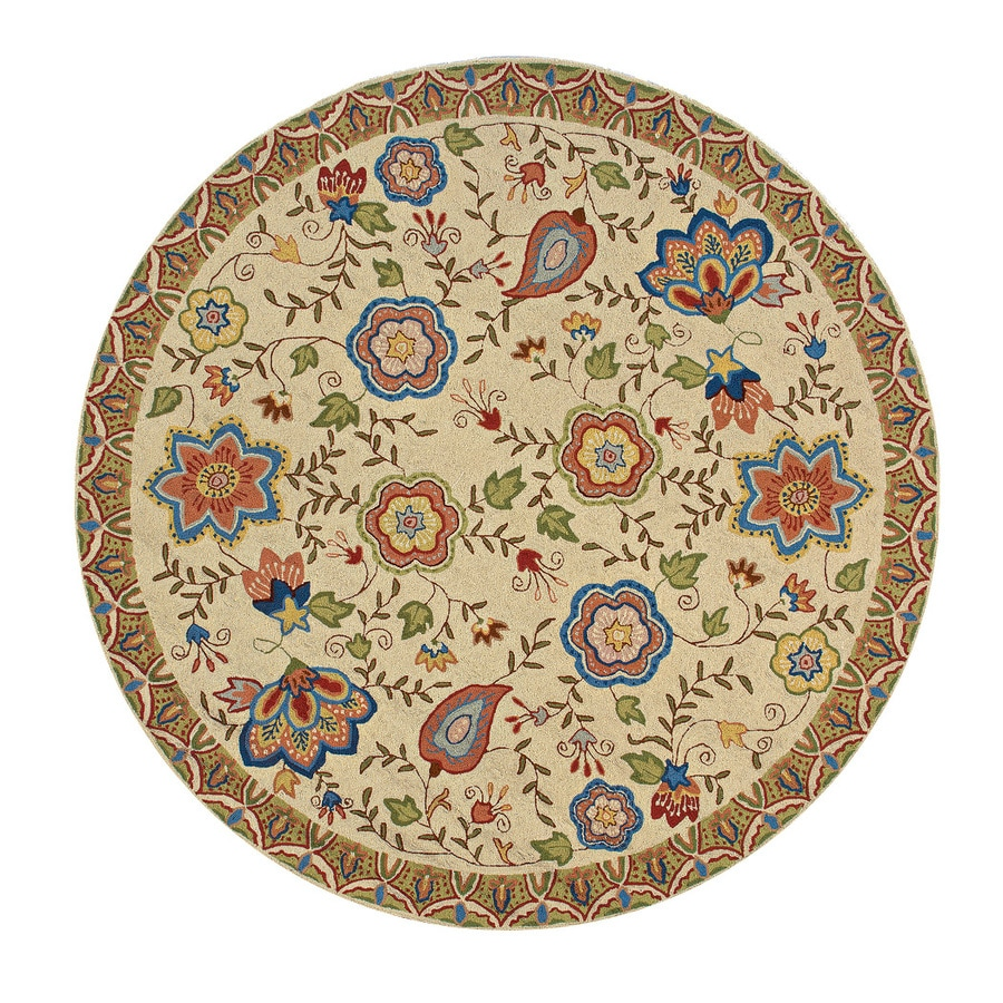 Momeni Spencer Beige Round Indoor Handcrafted Nature Area Rug (Common:; Actual: W x L x 7-ft dia)
