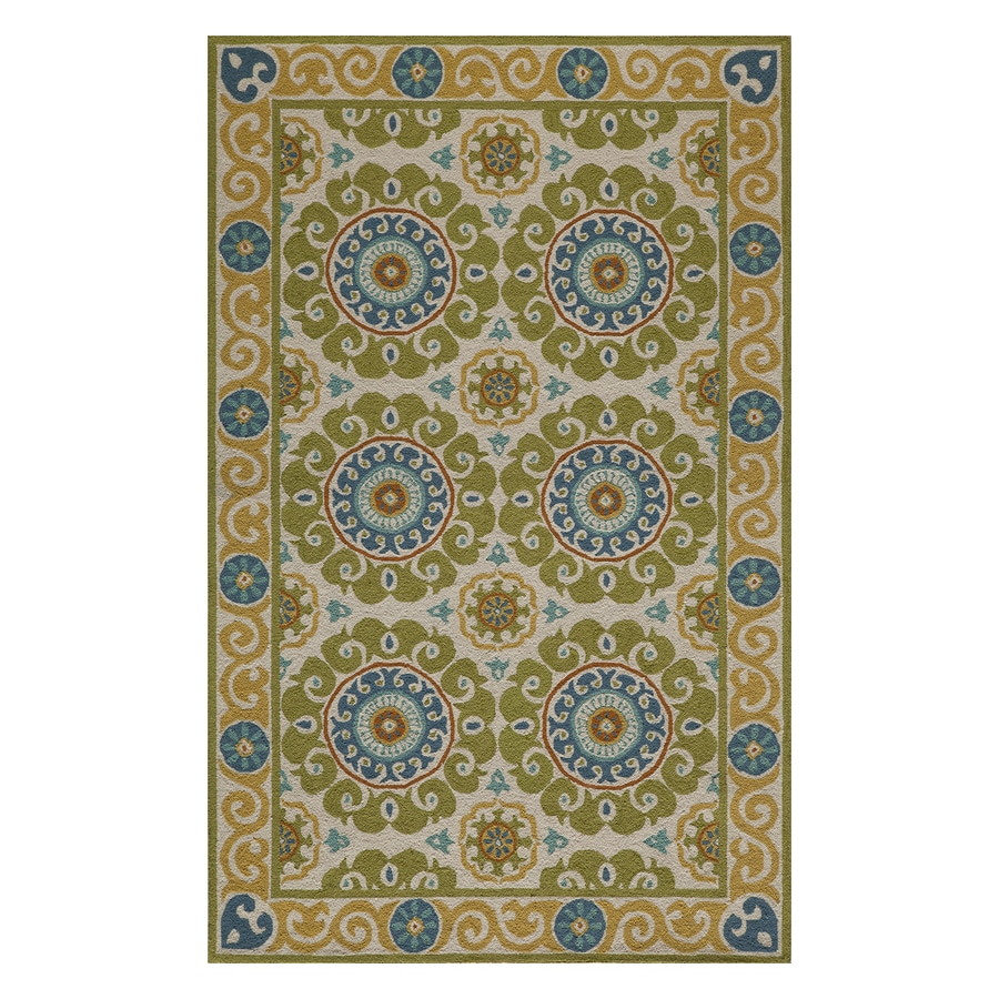 Momeni Suzani Hook Lime Rectangular Indoor Handcrafted Oriental Area Rug (Common: 4 X 6; Actual: 3.5-ft W x 5.5-ft L)