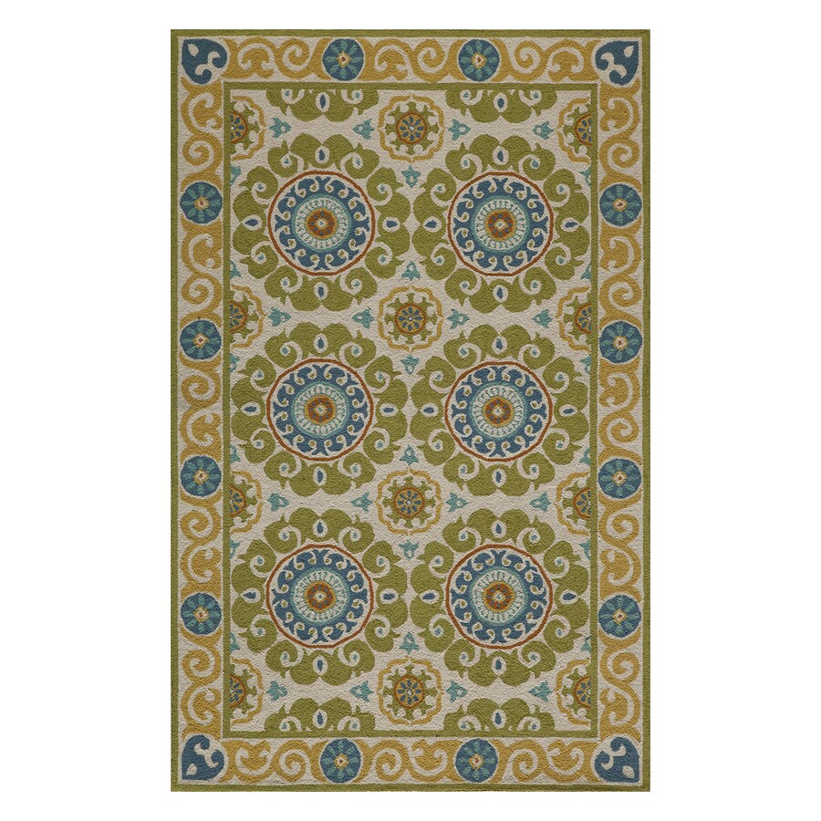 Momeni Suzani Hook Lime Rectangular Indoor Handcrafted Oriental Area Rug (Common: 8 X 10; Actual: 8-ft W x 10-ft L)