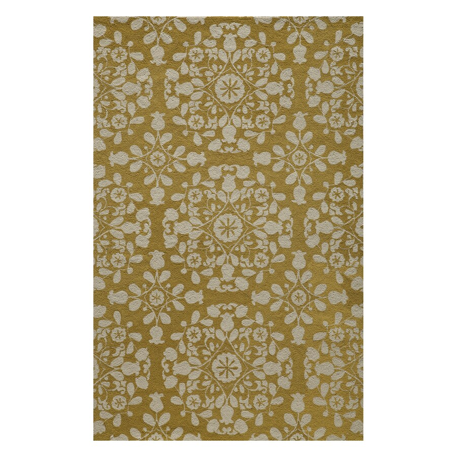 Momeni Suzani Hook Gold Rectangular Indoor Handcrafted Oriental Area Rug (Common: 4 X 6; Actual: 3.5-ft W x 5.5-ft L)