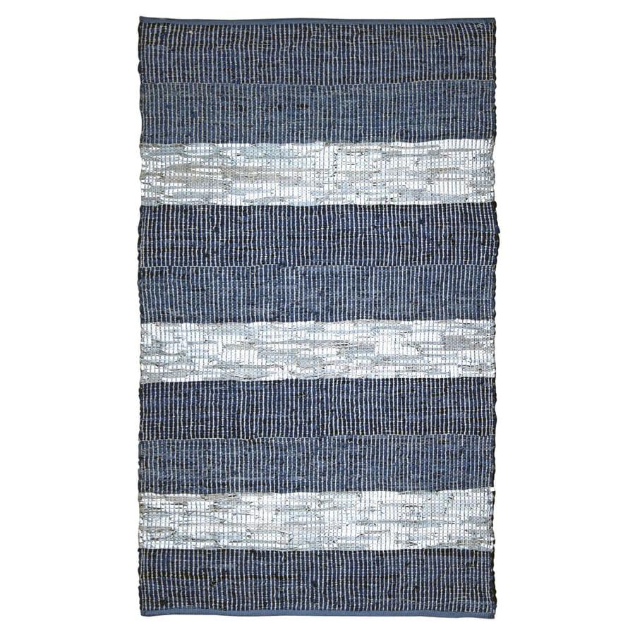 ST CROIX TRADING Matador Blue stripe Rectangular Indoor Handcrafted Area Rug (Common: 2 X 4; Actual: 2.5-ft W x 4.17-ft L)