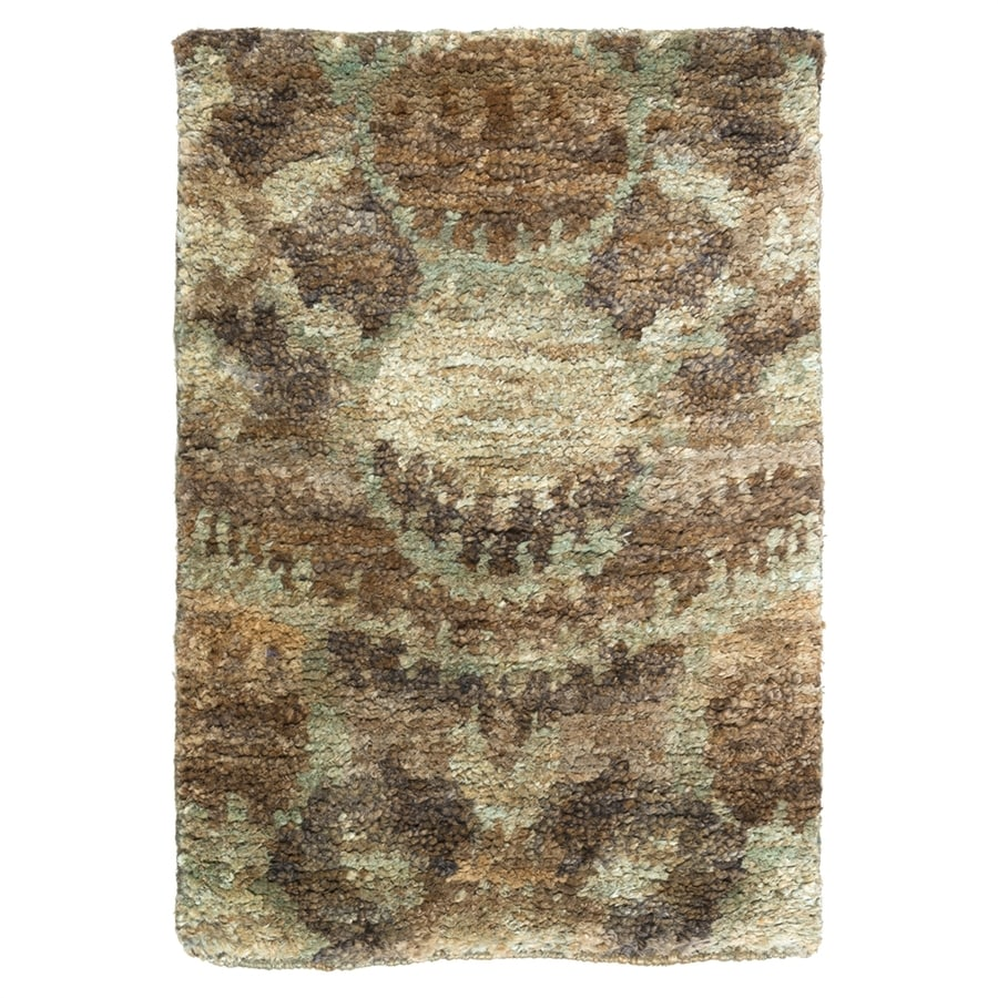 Surya Scarborough Neutral/Green Rectangular Indoor Handcrafted Throw Rug (Common: 2 x 3; Actual: 2-ft W x 3-ft L)