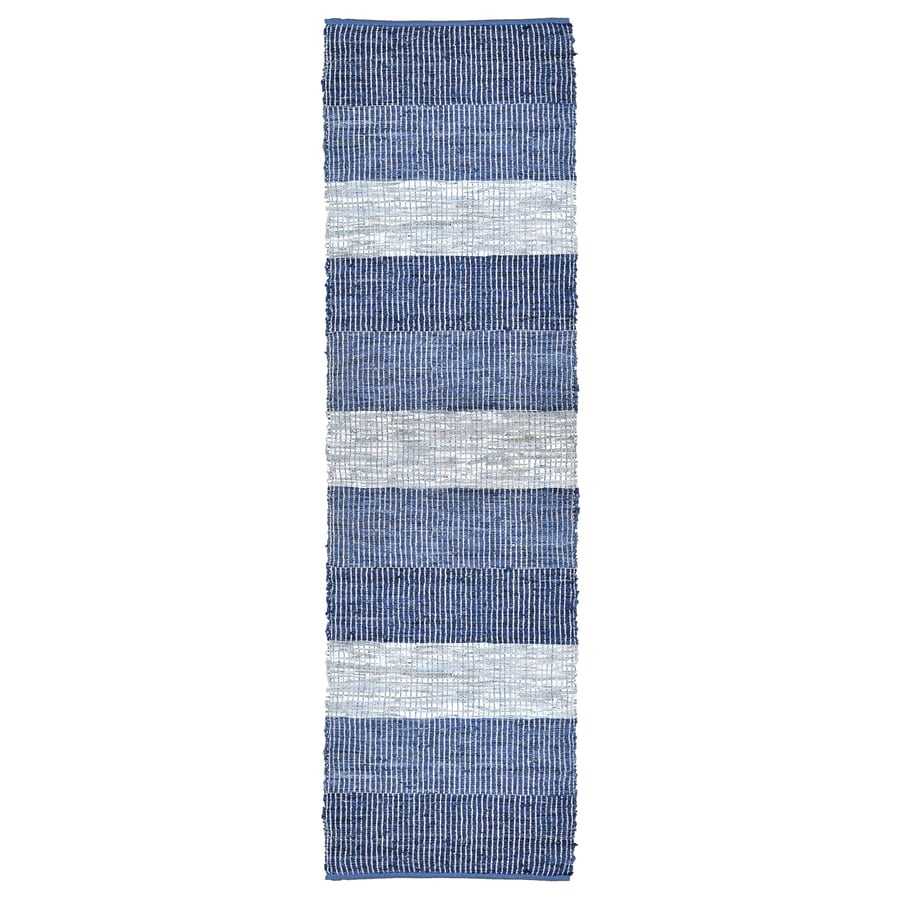 ST CROIX TRADING Matador Blue stripe Rectangular Indoor Handcrafted Runner (Common: 2 X 12; Actual: 2.5-ft W x 12-ft L)