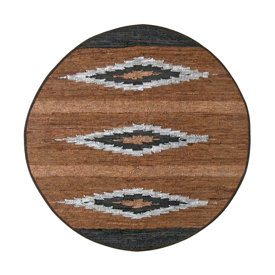 ST CROIX TRADING Matador Brown Round Indoor Handcrafted Southwestern Area Rug (Common:; Actual: W x L x 6-ft dia)