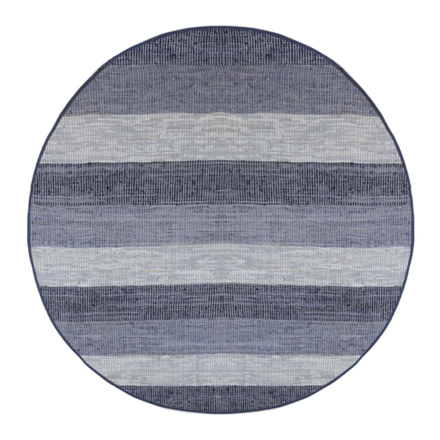 ST CROIX TRADING Matador Blue stripe Round Indoor Handcrafted Area Rug (Common:; Actual: W x L x 8-ft dia)