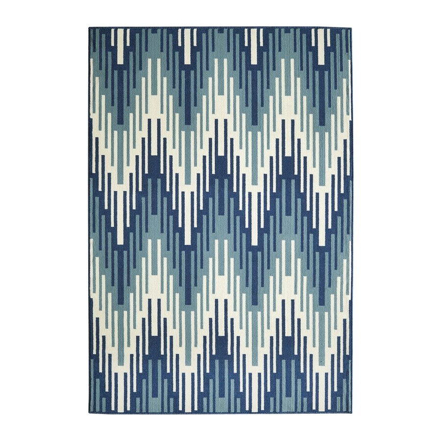 Momeni Baja Blue Rectangular Indoor/Outdoor Machine-made Area Rug (Common: 4 X 6; Actual: 3.91-ft W x 5.583-ft L)