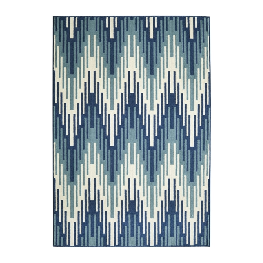 Momeni Baja Blue Rectangular Indoor/Outdoor Machine-made Area Rug (Common: 5 X 8; Actual: 5.25-ft W x 7.5-ft L)