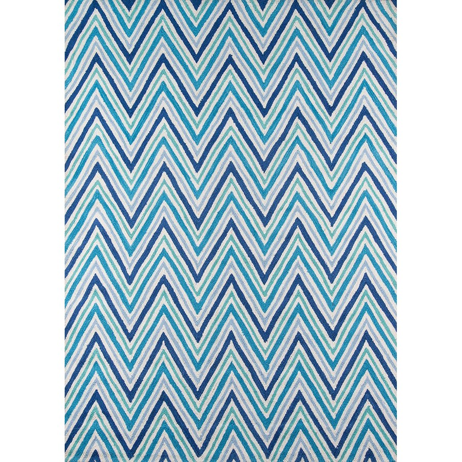 Momeni Geo Blue Rectangular Indoor Handcrafted Throw Rug (Common: 2 X 3; Actual: 2-ft W x 3-ft L)