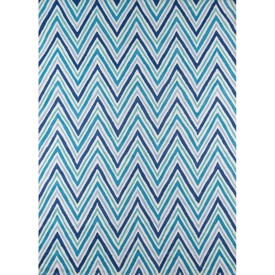 Momeni Geo Blue Rectangular Indoor Handcrafted Area Rug (Common: 5 X 7; Actual: 5-ft W x 7-ft L)