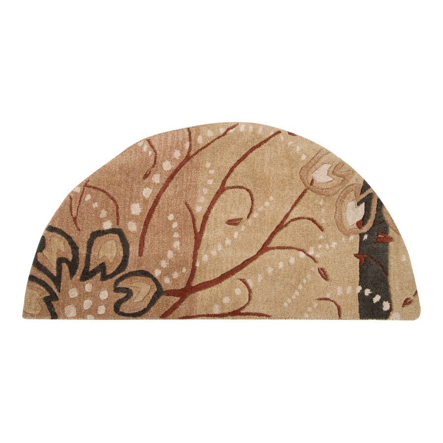 Surya Athena Tan Semicircular Indoor Handcrafted Nature Throw Rug (Common: 2 x 4; Actual: 2-ft W x 4-ft L)