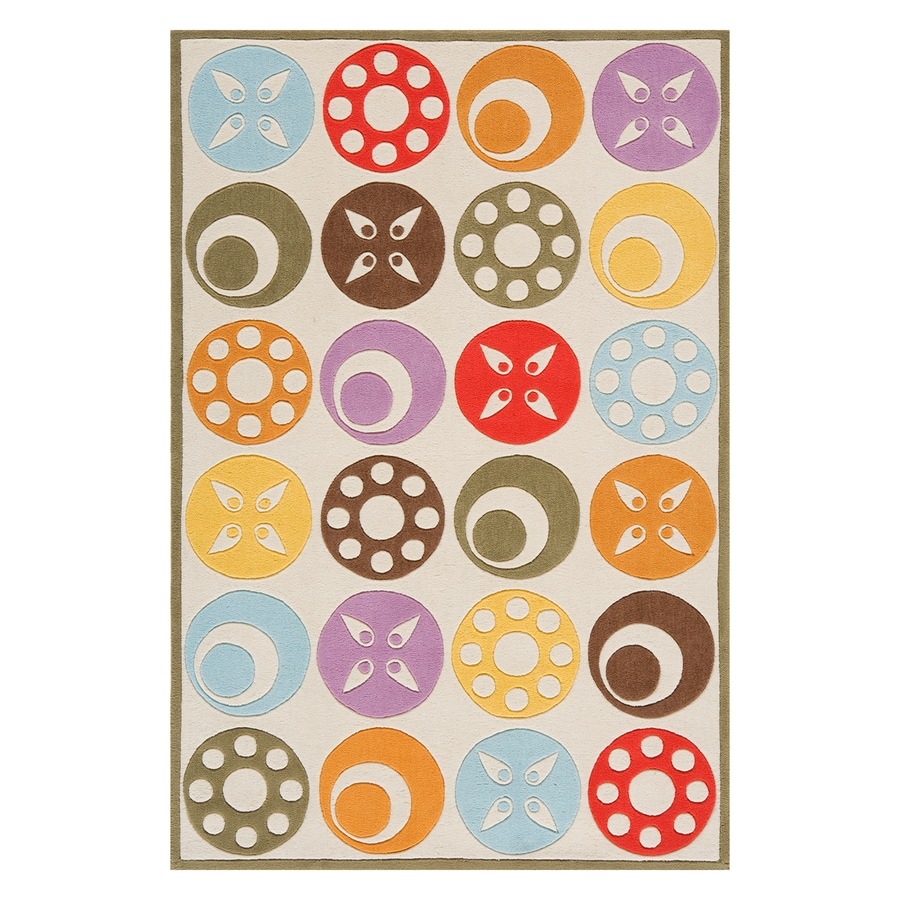 Momeni Lil Mo Whimsy Ivory Rectangular Indoor Handcrafted Novelty Throw Rug (Common: 2 X 3; Actual: 2-ft W x 3-ft L)