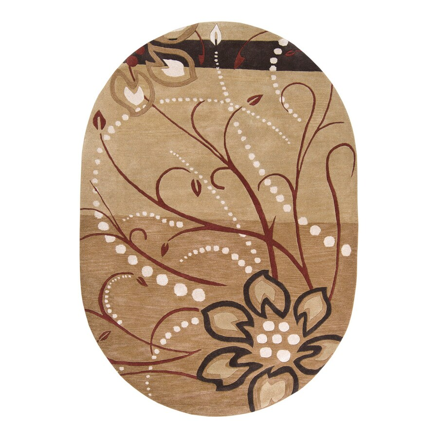 Surya Athena Tan Oval Indoor Handcrafted Nature Area Rug (Common: 8 x 10; Actual: 8-ft W x 10-ft L)