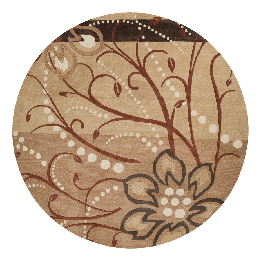 Surya Athena Tan Round Indoor Handcrafted Nature Area Rug (8-ft dia)