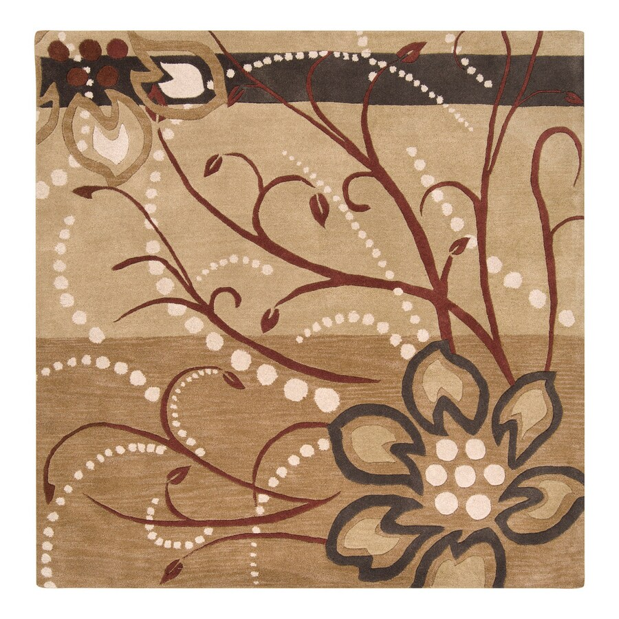 Surya Athena Tan Square Indoor Handcrafted Nature Area Rug (Common: 9 x 9; Actual: 9-ft 9-in W x 9-ft 9-in L)