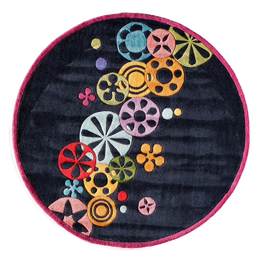 Momeni Lil Mo Hipster Black Round Indoor Handcrafted Novelty Area Rug (Common:; Actual: W x L x 5-ft dia)