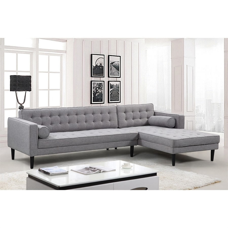 NobleHouse Compton Midcentury Grey Linen Sectional