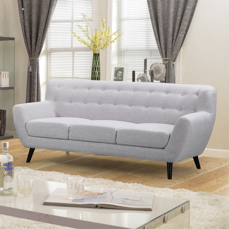 NobleHouse Darwin Midcentury Light Grey Linen Sofa