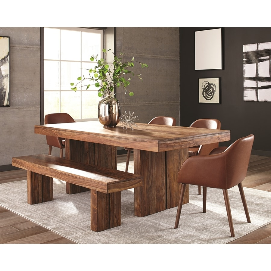 Shop scott living honey sheesham wood dining table at for Wood dining table decor