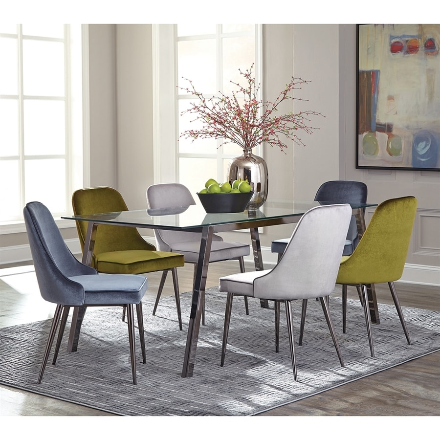 Shop scott living glass dining table at for Dining room tables lowes
