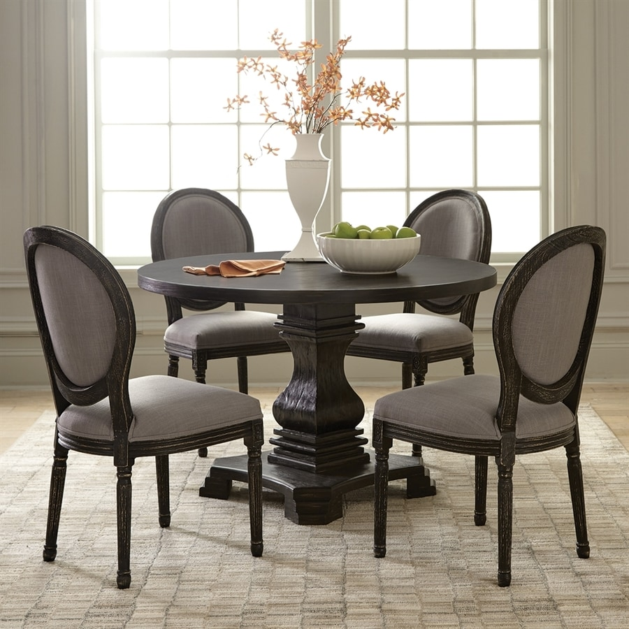 Shop scott living antique black round dining table at for Black dining table