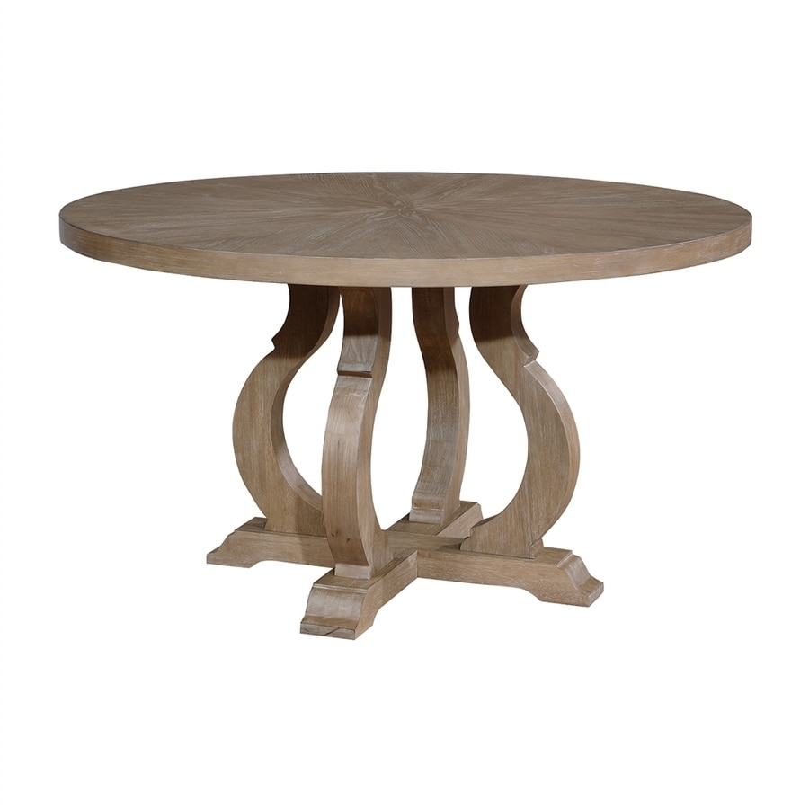 Shop scott living barley brown wood round dining table at for Light wood dining table