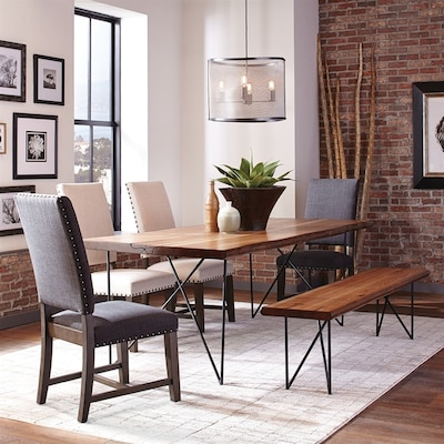 Scott Living Natural Honey Wood Live Edge Dining Table at