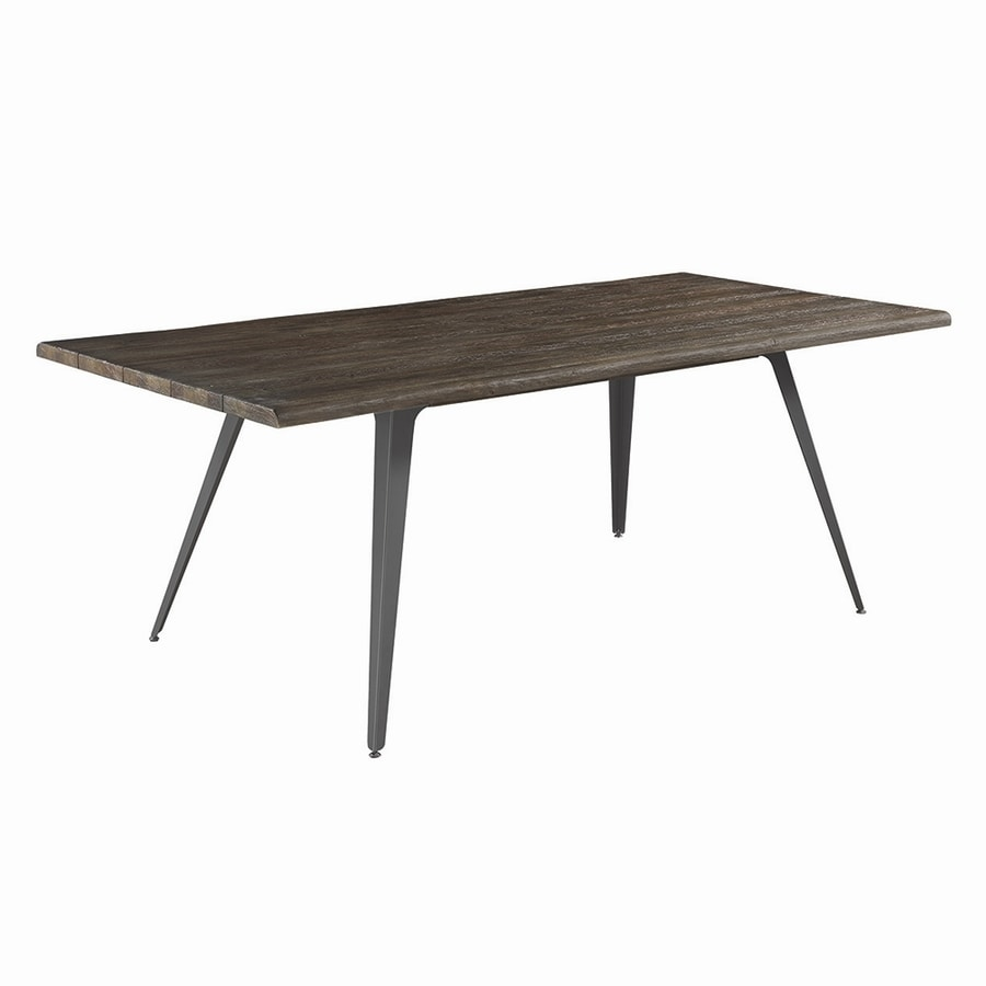 Shop scott living dark rustic brown wood dining table at for Dark wood dining table