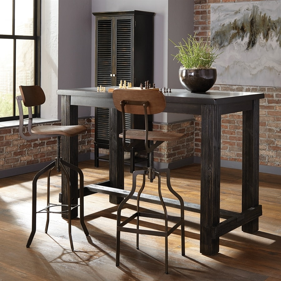 Kitchen With Dining Room dining table set in black with dark Scott Living Black Wire Brush Composite Bar Table