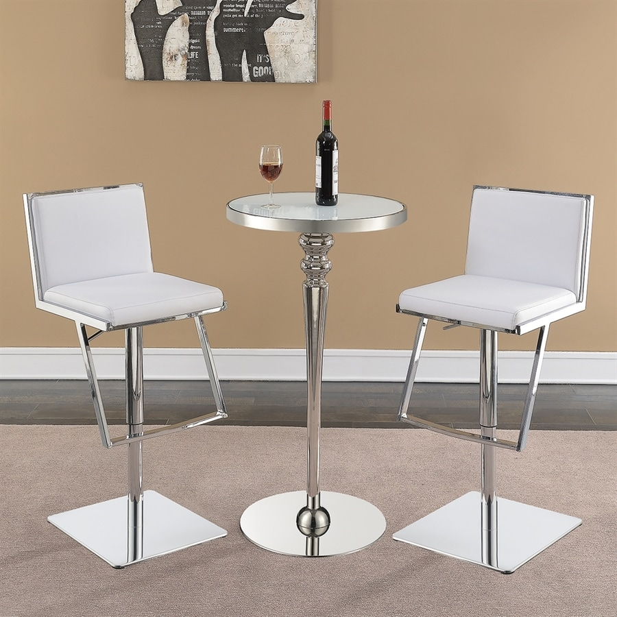 Scott Living White Glass Round Bar Table